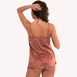 back model  Top Universe Lingadore soft satin warm copper shiny reflects