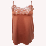 front Top Universe Lingadore soft satin warm copper floral lace shiny reflects