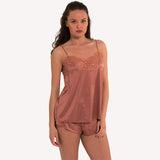 front mode Top Universe Lingadore soft satin warm copper floral lace shiny reflects