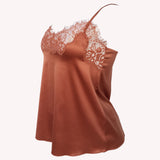 side Top Universe Lingadore soft satin warm copper floral lace shiny reflects
