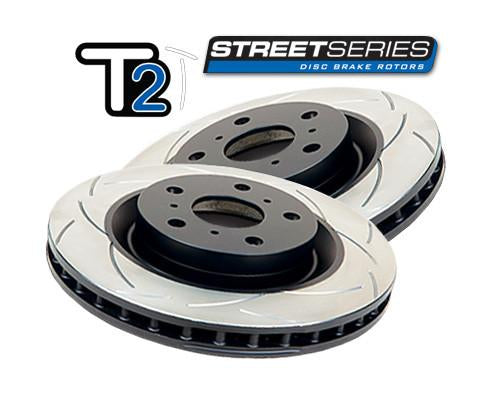 DBA + Hawk Performance Front & Rear Brake Package - DBA T2 Slotted Rotors + Hawk Performance Ceramic Pads - Forester SG (02-07)