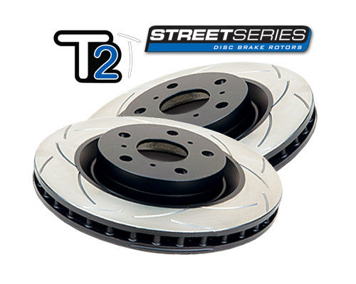 DBA T2 Slotted Street Series Rotors - Front (Pair) (STi GR/GV 08-14)