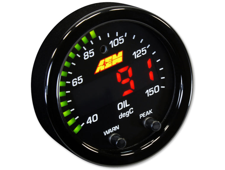 AEM - 150C Oil Temp - X-Series Gauge (Comes with Oil Face Plate)