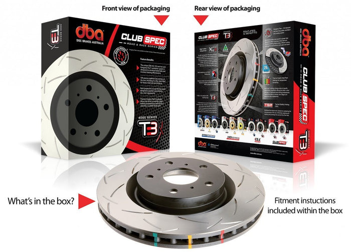 DBA T3 Slotted Club Spec Rotors - 4000 Series - Front (Pair) (Forester SF 97-02)