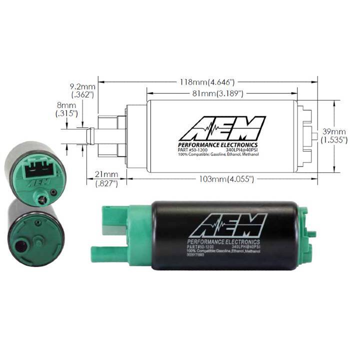 AEM - 340LPH - E85 Compatible High Flow Fuel Pump (Forester - SG 03-07)