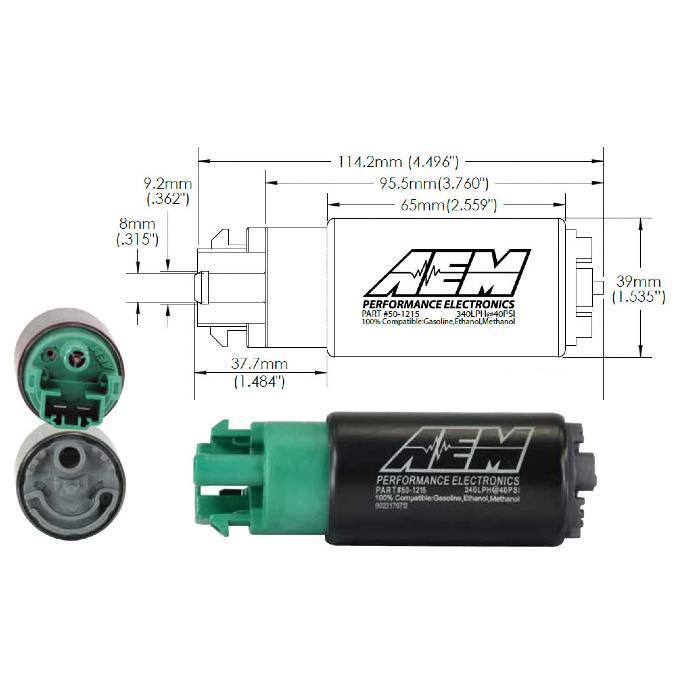 AEM - 340LPH - E85 Compatible High Flow Fuel Pump (WRX - G3 08-14)