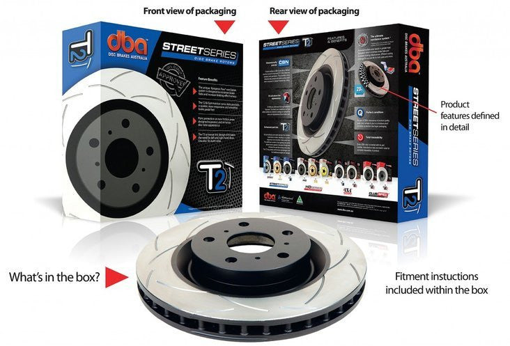 DBA T2 Slotted Street Series Rotors - Front (Pair) (Forester SH 08-13)