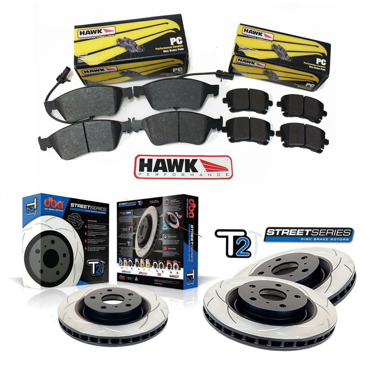 DBA + Hawk Performance Front & Rear Brake Package - DBA T2 Slotted Rotors + Hawk Performance Ceramic Pads - WRX GR/GV (08-14)
