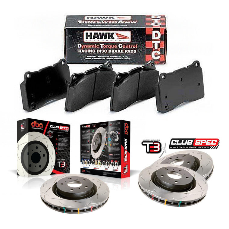 DBA + Hawk Performance Front & Rear Brake Package - DBA T3 Club Spec Rotors + Hawk Performance DTC-60 Pads - STi GD (01-07)