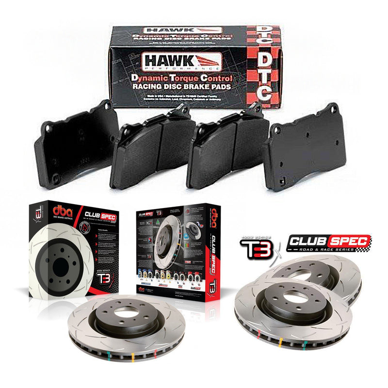DBA + Hawk Performance Front & Rear Brake Package - DBA T3 Club Spec Rotors + Hawk Performance DTC-30 Pads - STi VA (15-20)