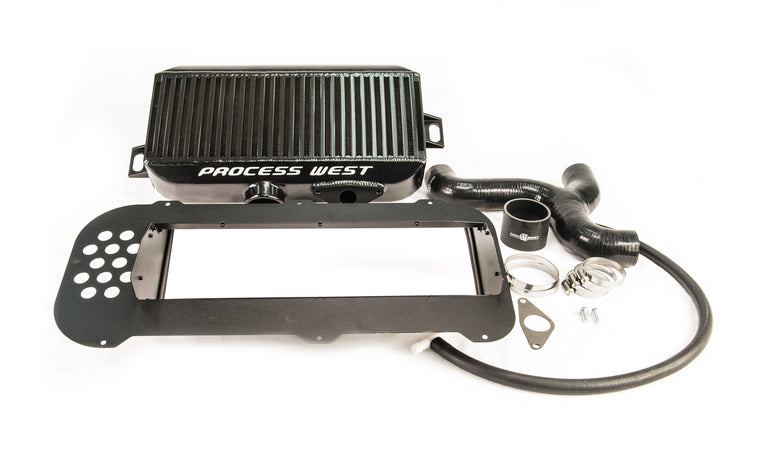 Process West - Top Mount Intercooler Kit (Forester XT 03-07) - Black Core - Suit STi 2002 Bonnet Scoop