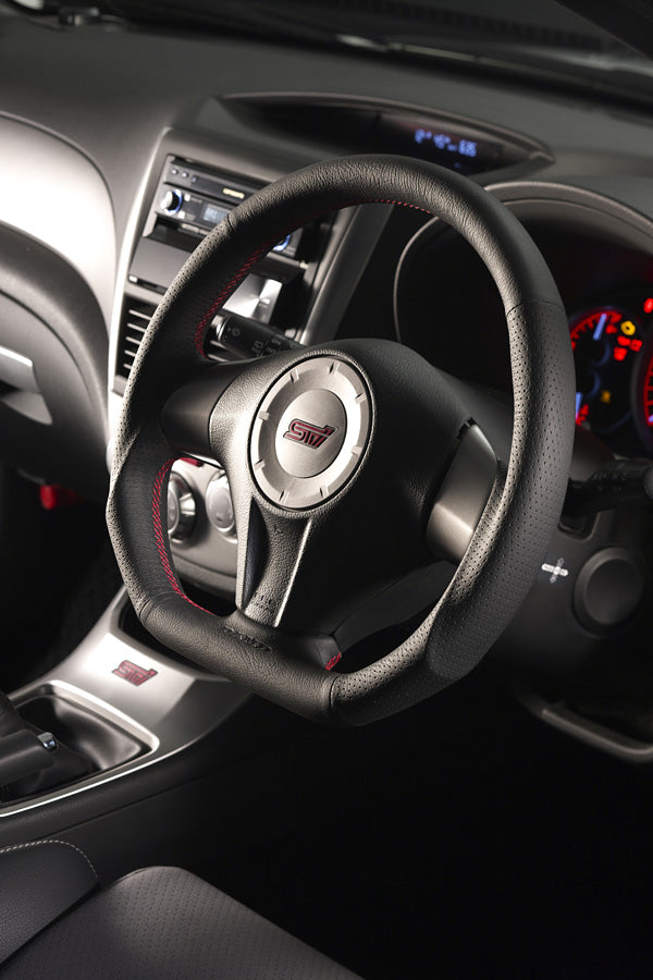 DAMD - D Shape Steering Wheel - Red Stitching and Black Leather (WRX/STi GV 08-14)