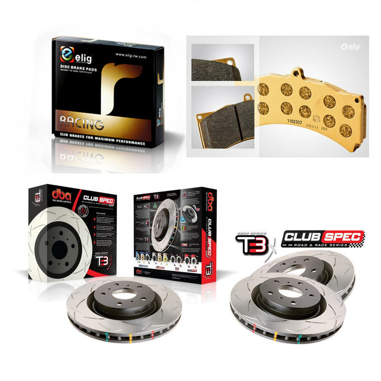DBA + Elig Front & Rear Brake Package - DBA T3 Club Spec Rotors + Elig RT-880 Brake pads - WRX GC (98-00)
