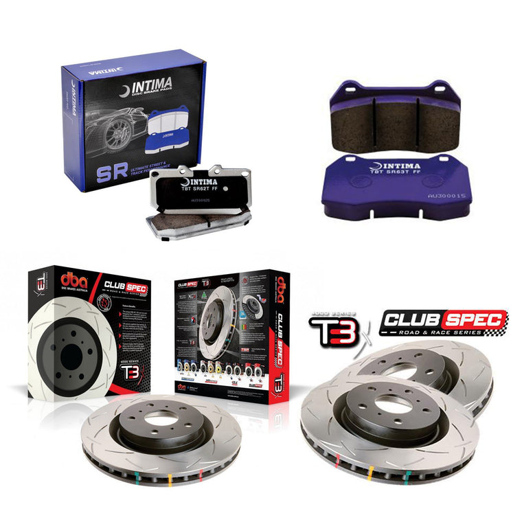 DBA + Intima Front & Rear Brake Package - DBA T3 Club Spec Rotors + Intima SR Brake pads - STi VA (15-20)