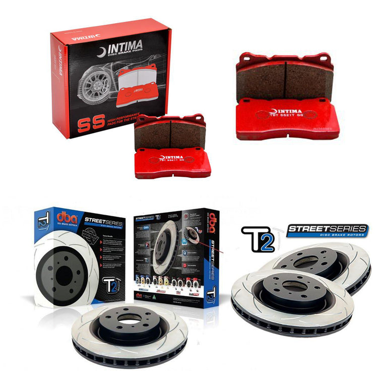 DBA + Intima Front & Rear Brake Package - DBA T2 Slotted Rotors + Intima SS Brake pads - WRX GR/GV (08-14)