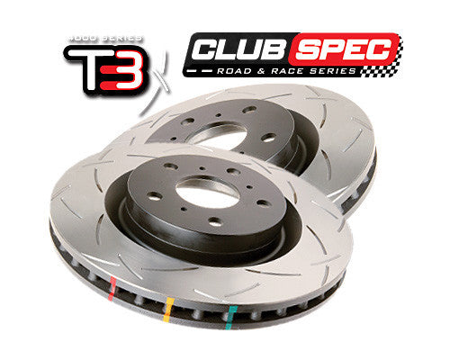 DBA T3 Slotted Club Spec Rotors - 4000 Series - Rear (Pair) (Forester SG 03-07)