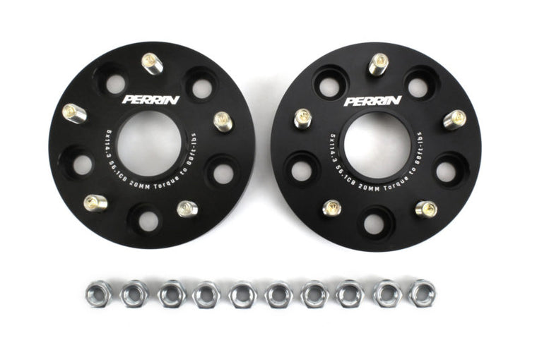 Perrin Wheel Spacers 20mm DRS Style -  Black Anodized CONVERSION (5x100 to 5x114.3) PAIR