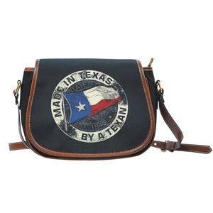 Made In Texas By A Texan Black Canvas - Leather Trim Saddle Bag