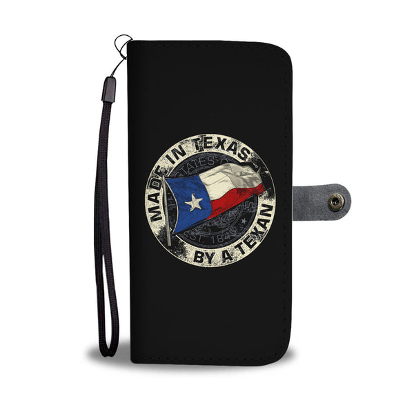 Made In Texas By A Texan Black Phone Wallet Case