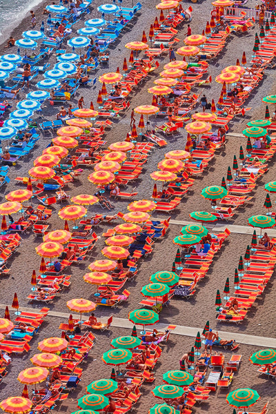 Orange Umbrellas Positano, Amalfi Coast, Vertical Print