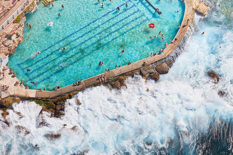Bronte Baths Ocean Wave, Horizontal Print
