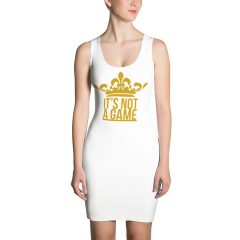 """IT'S NOT A GAME"" Gold Sublimation Cut & Sew Dress"