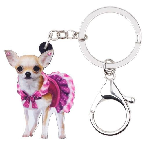 Women's Handbag Keychain Gift Acrylic Cute Pink Dress Dog Keyring