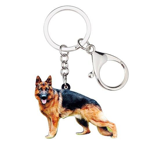 New Pet Lovers German Shepherd Dog Key Chain Women Handbag Keyring