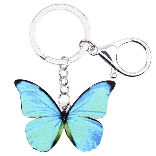 Fashion Handbag Butterfly Key Chain Charm Keyring Animal Jewelry For Women