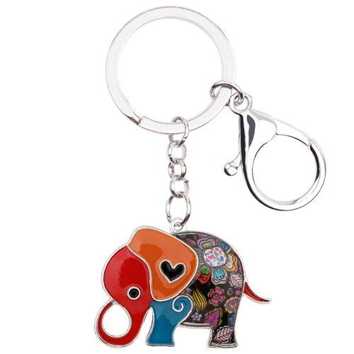 Fashion Jungle Cartoon Elephant Key Chain Gift Ladies Bag Cart Keyrings