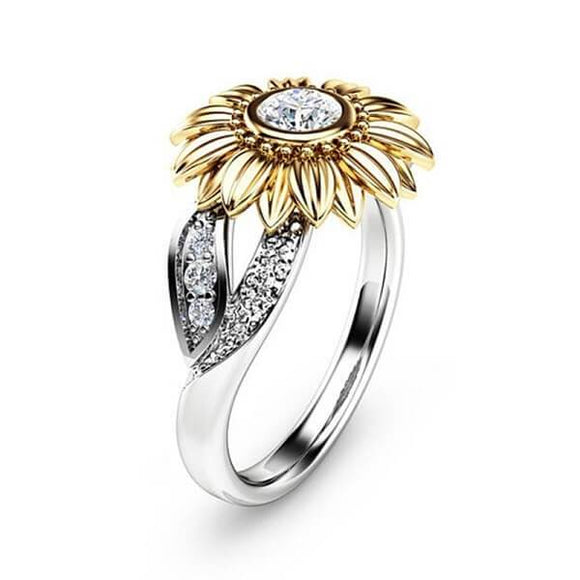 Wedding Bands Cute Sunflower Crystal Wedding Ring for Women