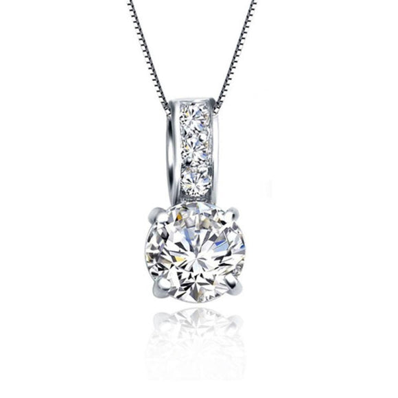 925 Sterling Silver Cubic Zircon Pendant Necklace Women Wedding Pendant for Valentines Day