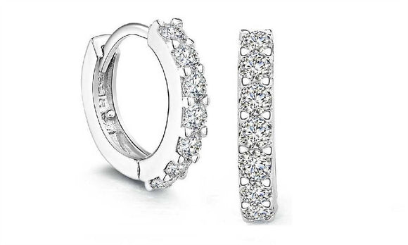 Women Small Round Rhinestones Hoop Nice Earrings