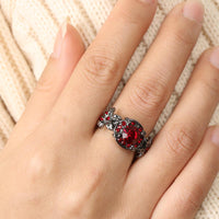 Fashion Silver Plated Red Crystal Filled Engagement Ring (6,7,8) - sparklingselections