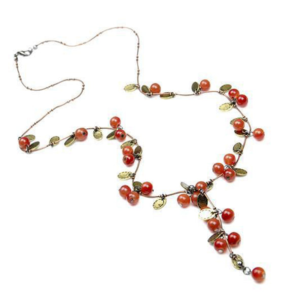 New Beautiful Red Cherries Pendant Necklace For Women