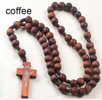 Retro Style Catholic Christ Wooden Woven Rope Rosary Bead Cross Unisex Pendant Necklace