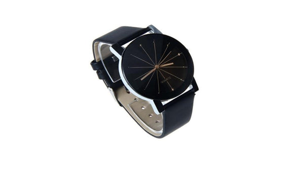 Digital Watch Leather  Round Case Wristwatch