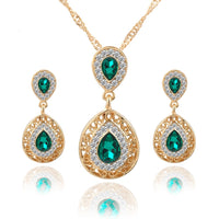 New Fashion Charm Crystal Water Drop Jewelry Set Women Casual Fashion Zircon Necklace Earrings Jewelry For Occasions, Sumner, Spring, Winter