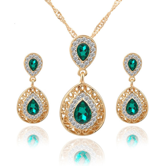 New Fashion Charm Crystal Water Drop Jewelry Set