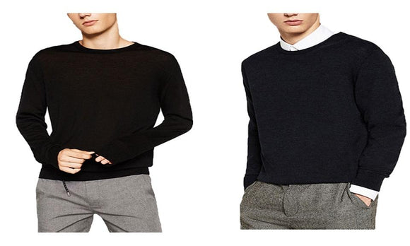 Men Winter/Spring Warm Long Wool Crewneck Pullover Shirt Sweater