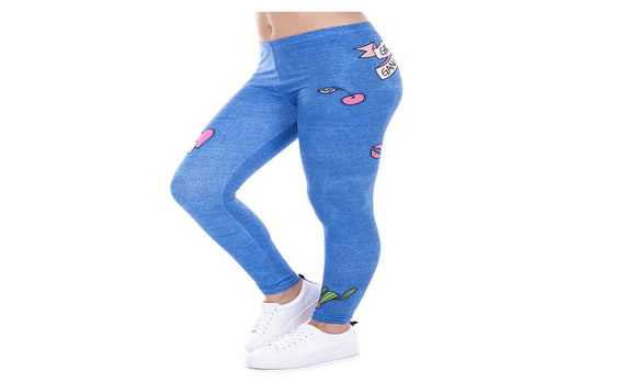 Printed Denim Blue Leggins for  Women