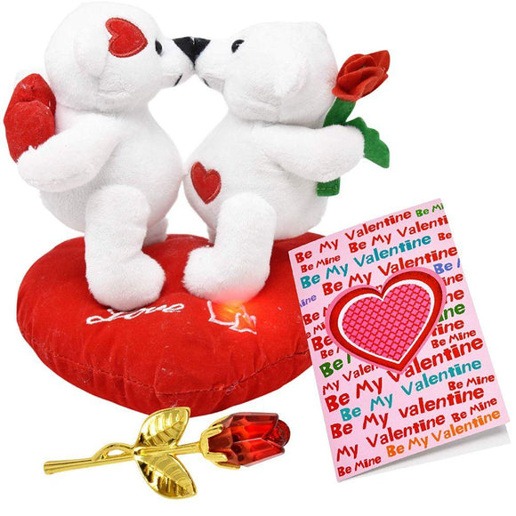 Stuffed Teddy Plush Talking Kissing Love Bears on Heart Pillow for Her Girlfriend Women Wife on Valentines Day