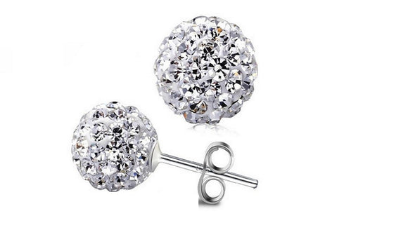 Silver Fashion Ball Stud Earrings for Women