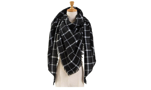 Black Plaid Winter Scarf Women