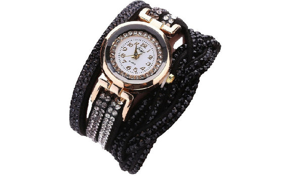 New Luxury Crystal Rhinestone Gold Plated Bracelet Wrist Watch