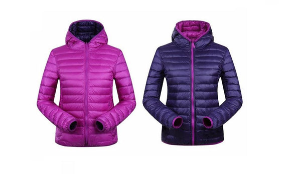 Padded Hooded Warm Women Reversible Two Side Jacket