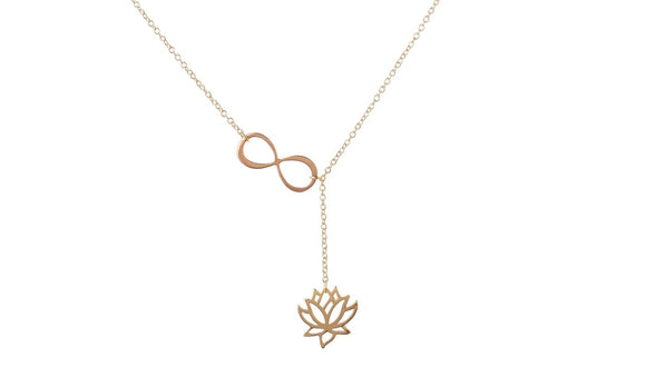 New Lotus Flower Infinity Lariat Pendant Necklace