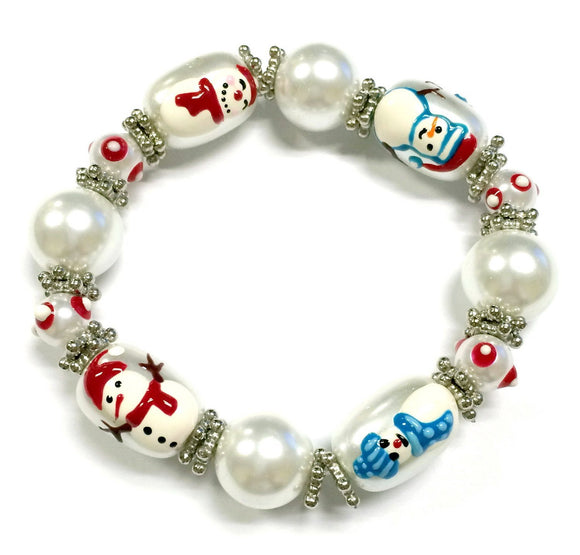 3D Hand Painted Glass Beads Christmas Stretch Bracelet