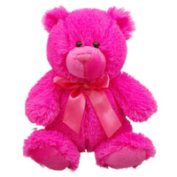 Stuffed Animal Plush Teddy Bear Bright Pink 8 Inches Tall on Valentines Day - sparklingselections