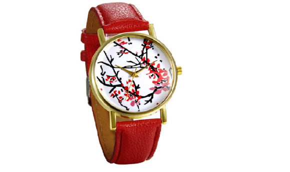 New Stylish Elegant Plum Blossom Leather Wristwatch